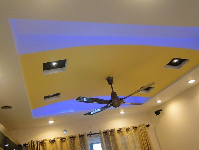 ceiling with blue lights
