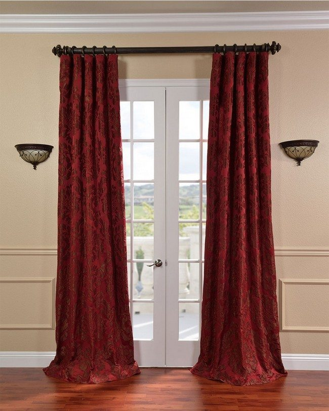 wooden french doors with velvet purple curtains