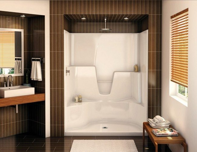 shower with sitting places for two
