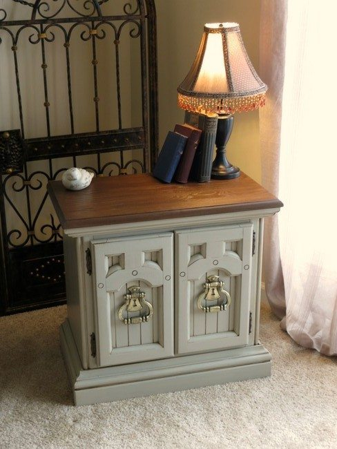 two dorors nightstand near metal bed