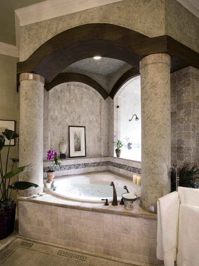 bathtube with colums made from stones - Small Bathrooms Design Ideas