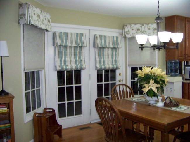 White French Doors With Crossed Curtains