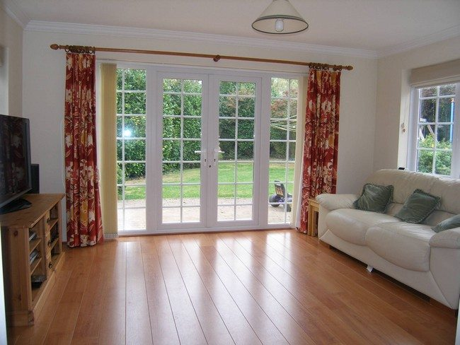 Curtains For French Doors Ideas Part - 34: Plastic Wooden Doors With Colored Blinds