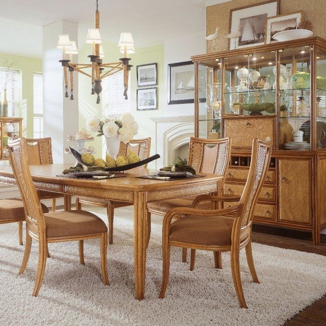 light wooden cabnet with table chairs and cupboard