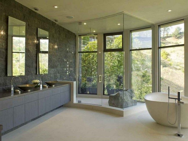 bathroom with french windows and doors