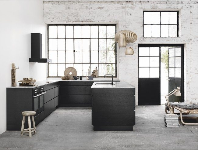black kitchen cabinet with marble grey floor