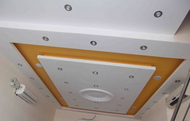 false ceiling with small round lights