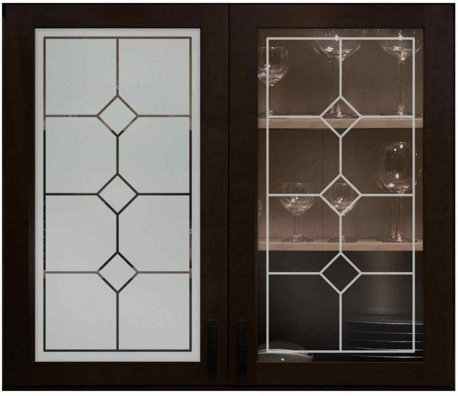 Contrasting elements of frosted glass doors