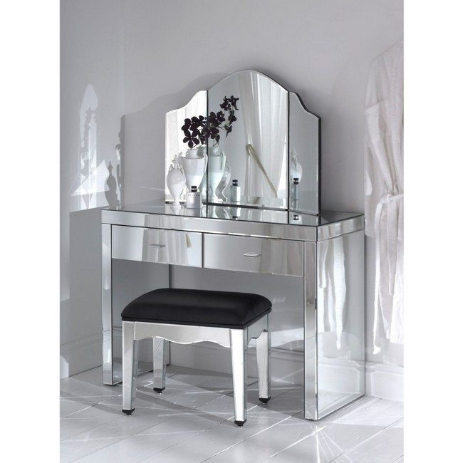 amasing mirrored makeup storage table with morro and small cushioned chair