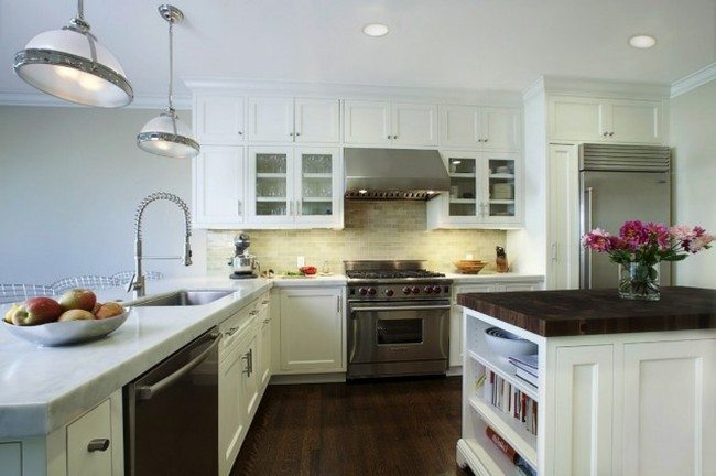 white color brick splash with the dark dloor kitchen
