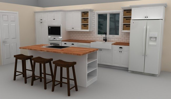 of the white color with two bar chairs on the scandinavian kitchen with a white freezer and fridge