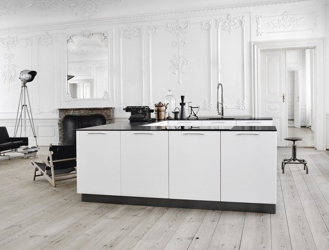 white color kitchen cabinet with marble color wooden floor