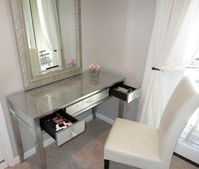 mirrored makeup storage with white chair made drom woode and leather