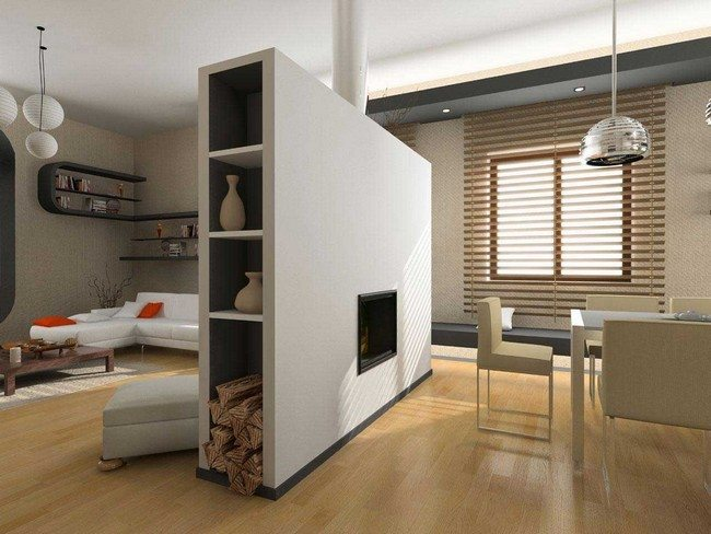 wall with false fireplace as a room divider