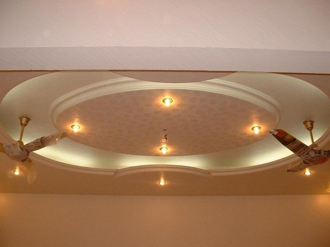 round plastic ceiling with four lights