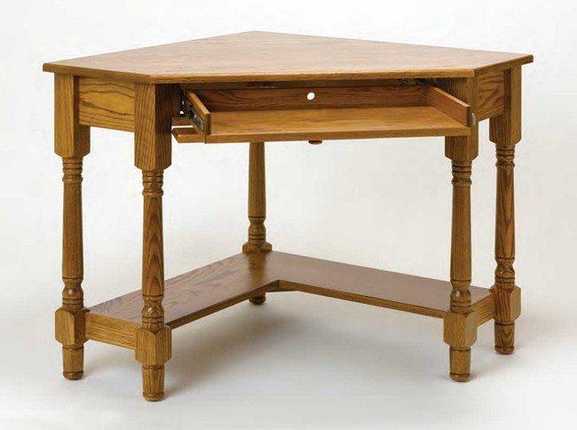 example of real wooden corner desk