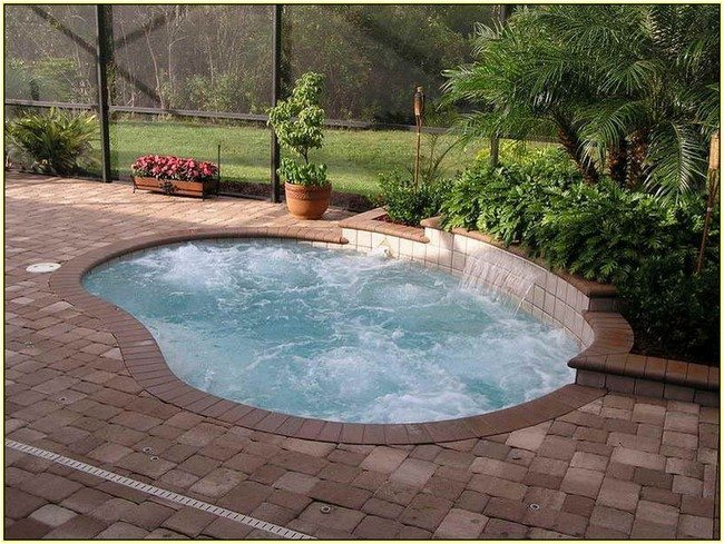 round pool int the backyard with stone parapets