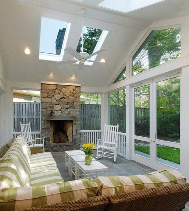 : Beautiful well-aligned living room with a view of the garden