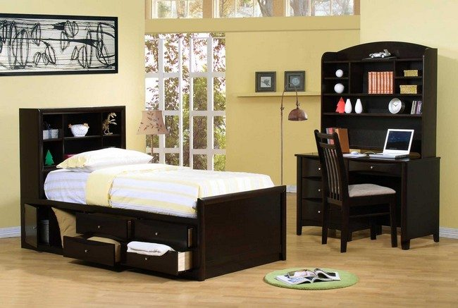 Bed with built-in storage cabinets and separate study section