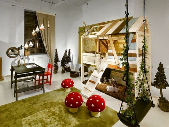 Forest-themed room for child to play in