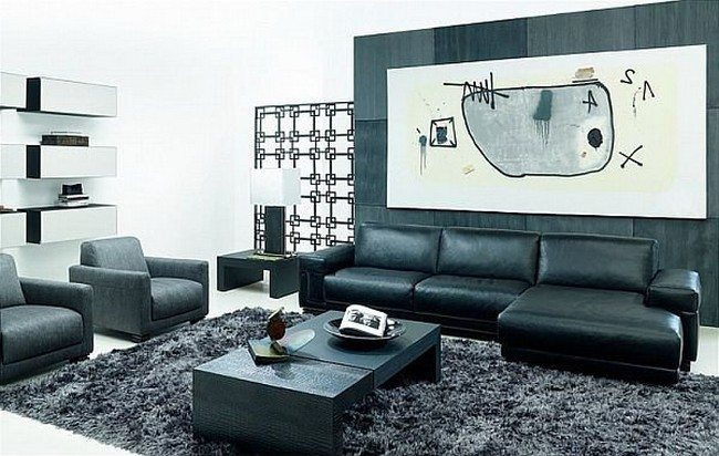Living room with dark aesthetic