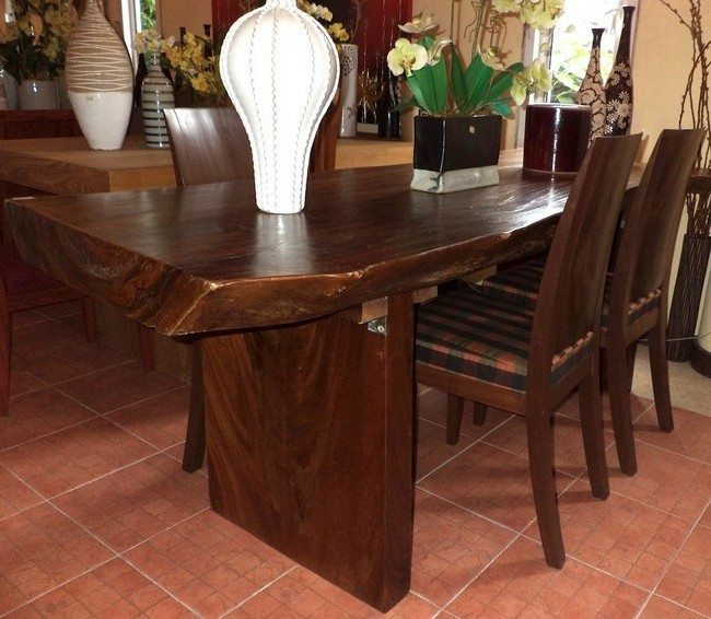Wooden table with carved edges