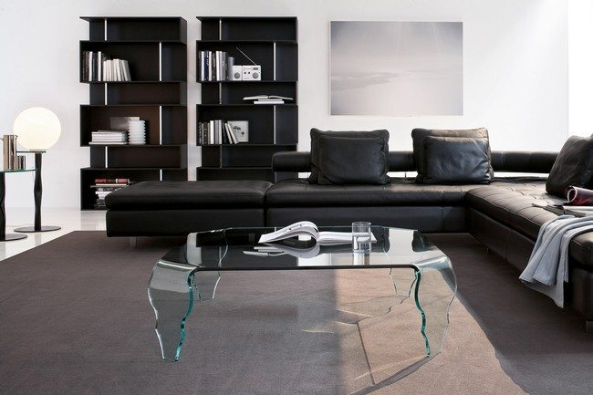 Black and brown leather furniture