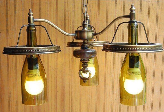 Wine glass lights with metal holders