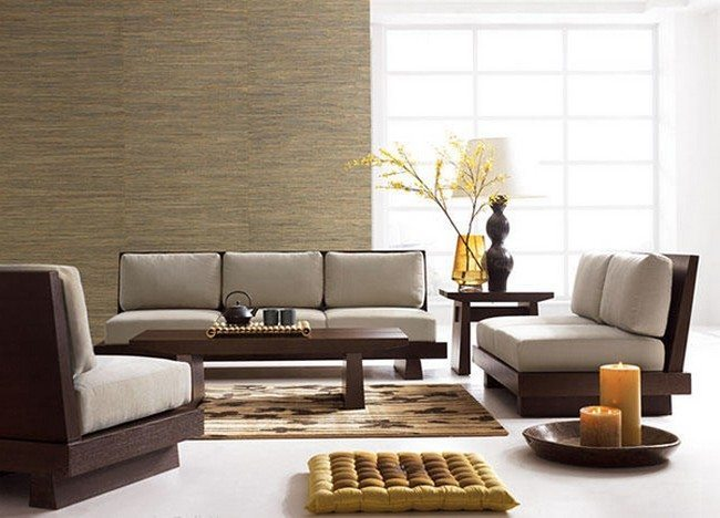 Japanese living room  Wooden elements furniture Decorating Of A Living Room Decor Around The World
