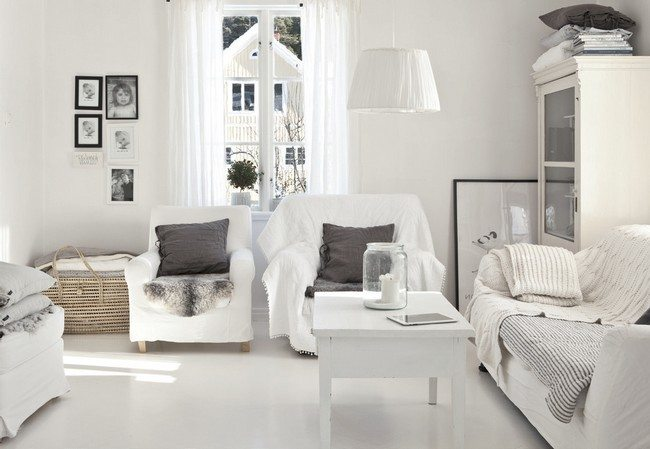 Living room with white background