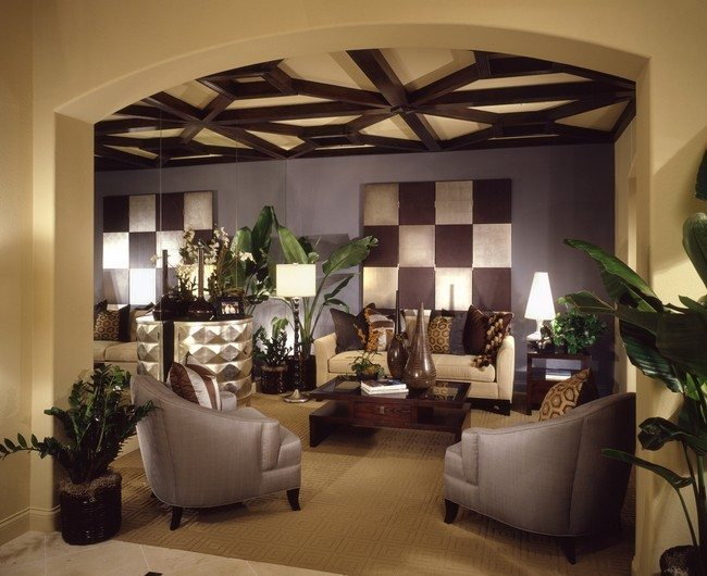 Ceiling with brown, wooden beams