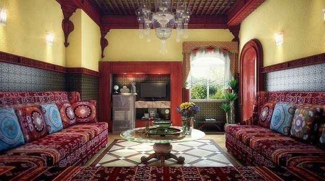 moroccan living room d cor decor around the world. Black Bedroom Furniture Sets. Home Design Ideas