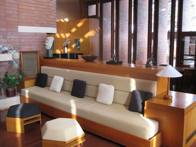 brown white sofa