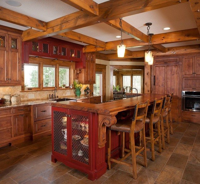 French Country Kitchen Tile Floor