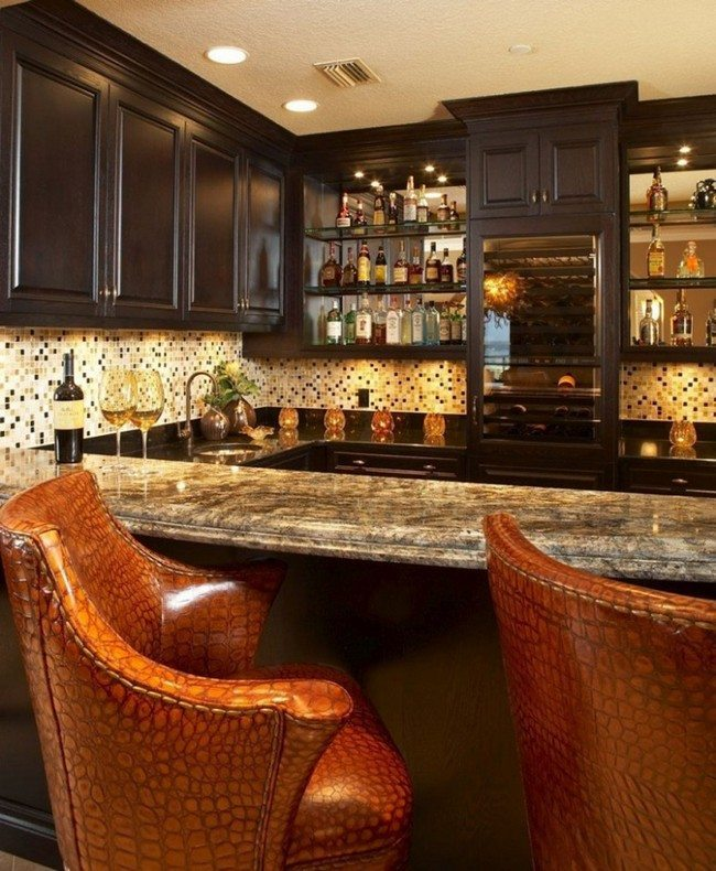 bar with brown chairs and marble stone surface