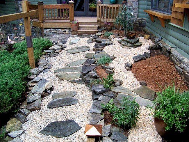 contrast of dark rocks and bright pebbles