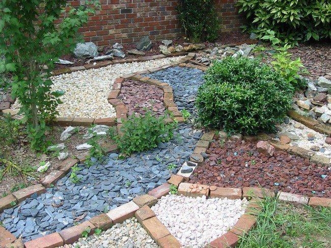 Assortment of pebbles in garden