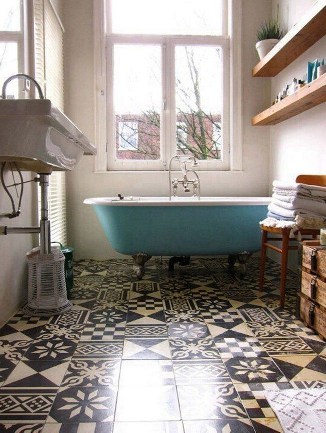 Vintage inspired bathroom decor around the world for Unusual bathroom flooring ideas