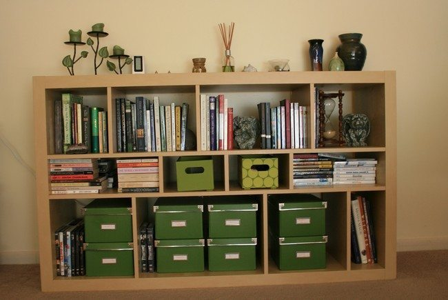 green storage cases - Bookshelf Decor