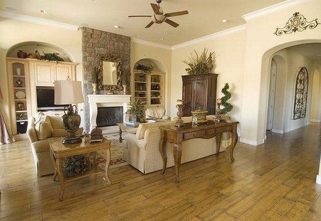 White walls and uniform wooden floor