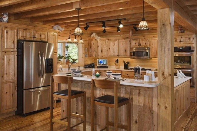 Knotty Pine Wood Kitchen Cabinets