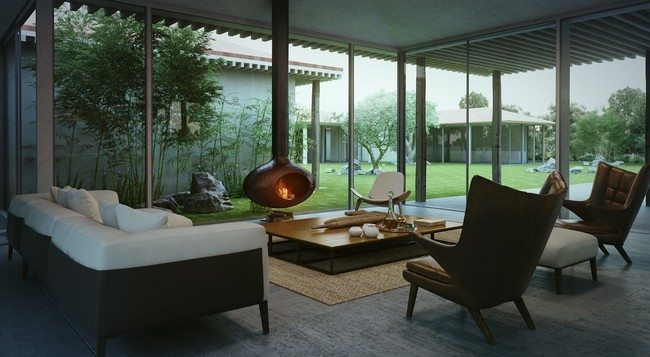 Living room with beautiful view of the outside