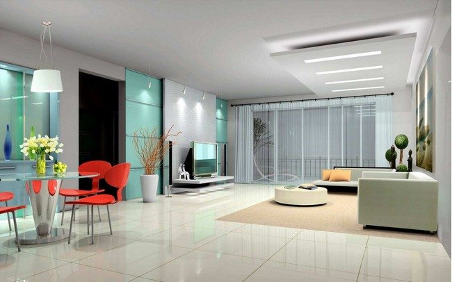 Bright color hues in living room