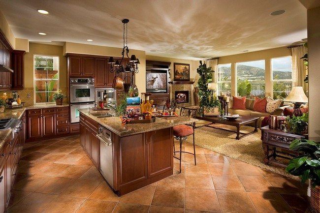 Creative plans for the open concept kitchen decor around - Flooring ideas for living room and kitchen ...