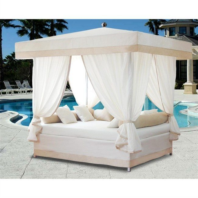Transforming your bedroom using luxury canopy beds decor for Pool canopy bed