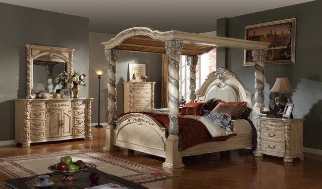 Polished medium-tone hardwood floor & Transforming your Bedroom Using Luxury Canopy Beds - Decor Around ...