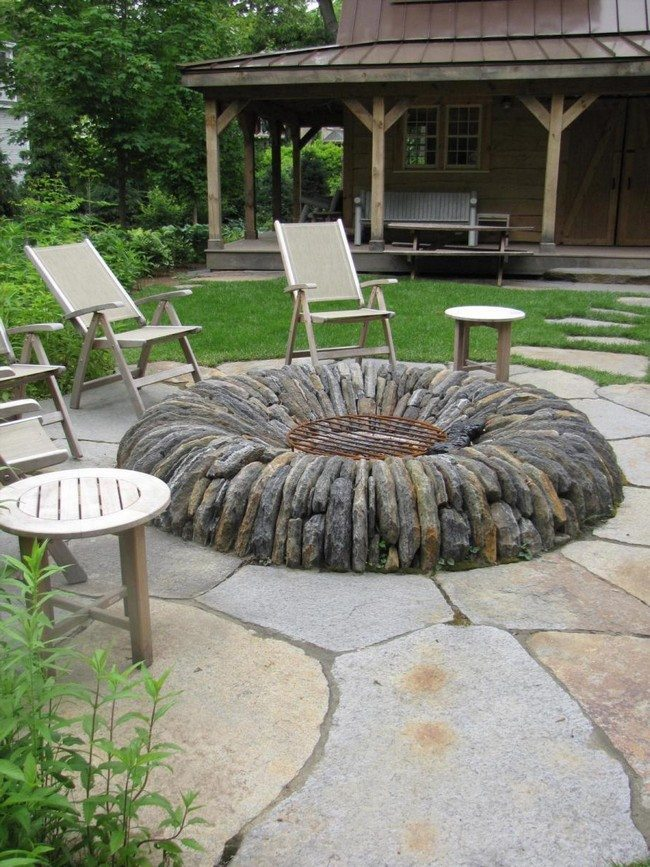Inspiration for backyard fire pit designs decor around for Gartengestaltung country