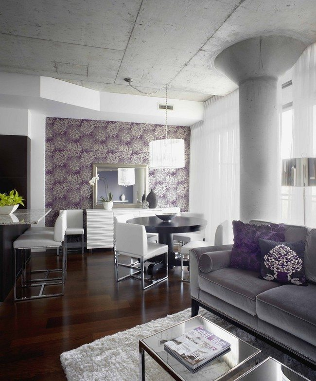 Ways to decorate grey living rooms decor around the world for Purple and grey living room ideas
