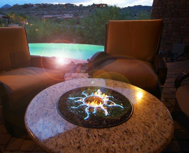 Circular table with fire pit