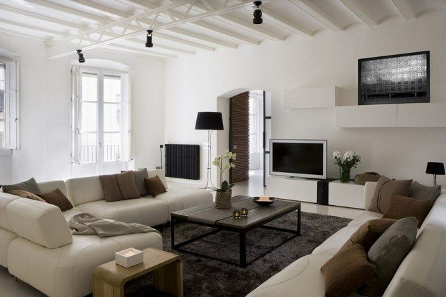 Black and white-themed living room